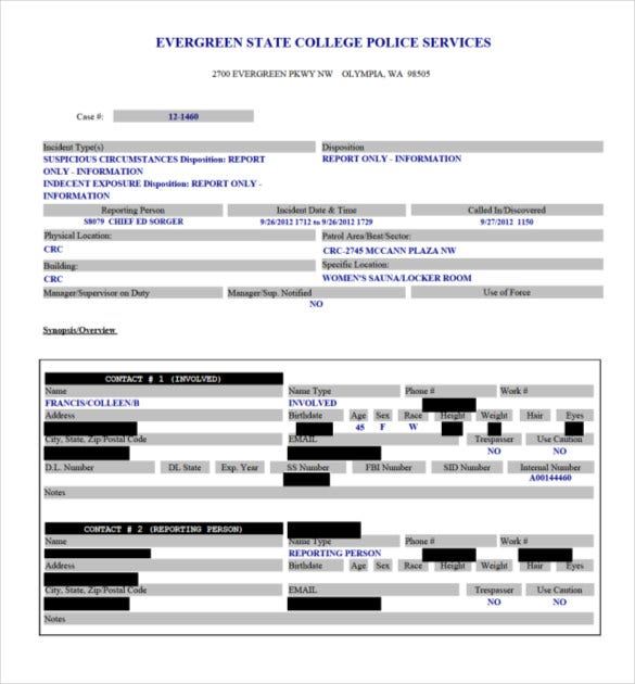 8 Police Report Templates Free Sample Example Format Download – Sample of a Police Report