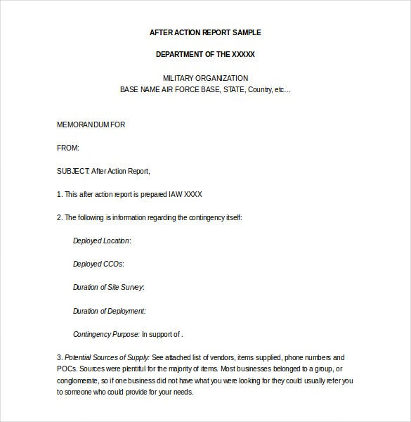 after action police report template