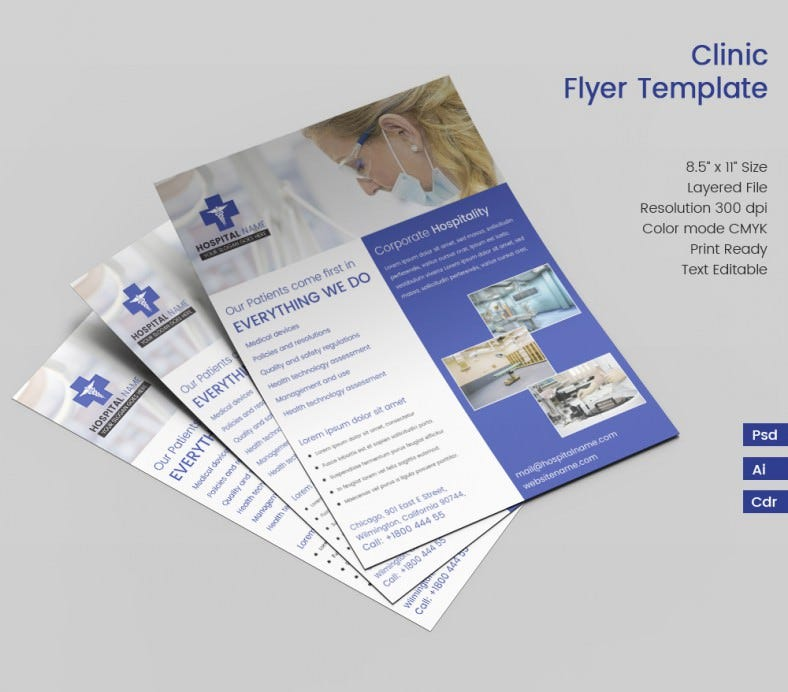 Ideal clinic flyer template free premium templates for Clinic brochure template
