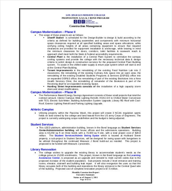 Sample Student Report Construction Monthly Report Template Sample