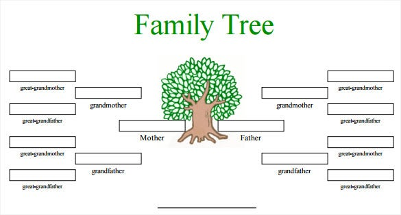 Blank family tree template 32 free word pdf documents for Picture of a family tree template