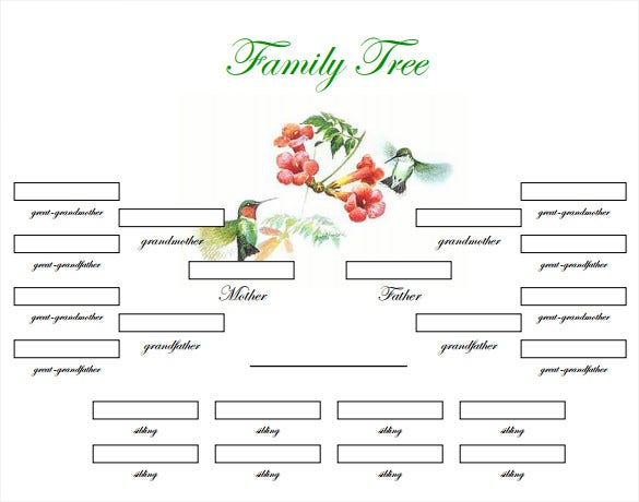 Simple family tree template free download pdf format for Fill in the blank family tree template