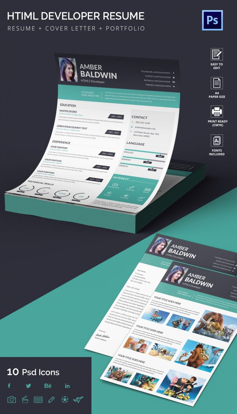 HTML5 Developer Resume + Cover Letter + Portfolio Template | Free ...