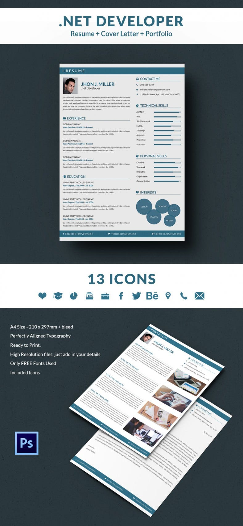 Net Developer Resume Cover Letter Portfolio Template