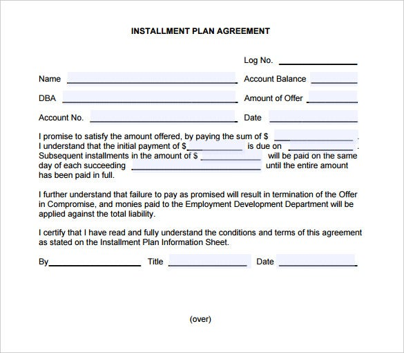 Installment sales contract template bing for Installment sale agreement template