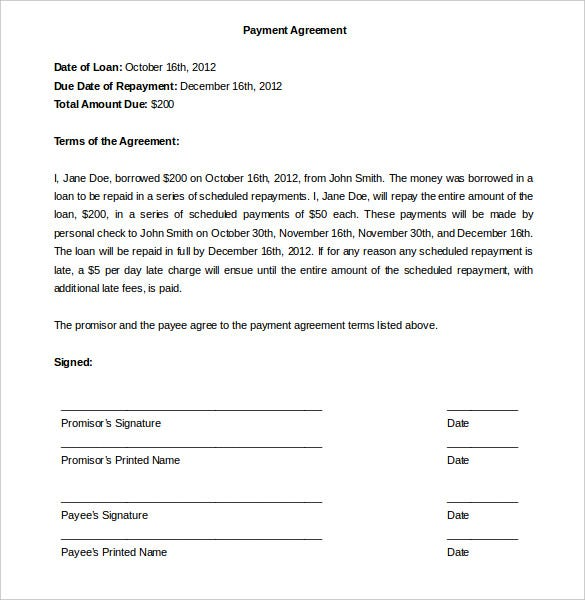 Payment Plan Agreement Template 25 Free Word PDF Documents – Agreement Letter for Loan