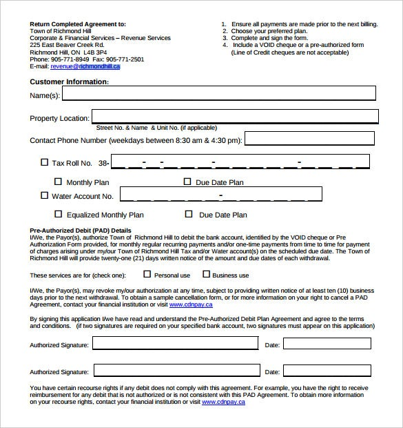 pre authorized debit payment plan agreement template download