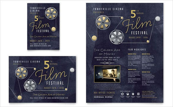 attractive film festival half page flyer template0a