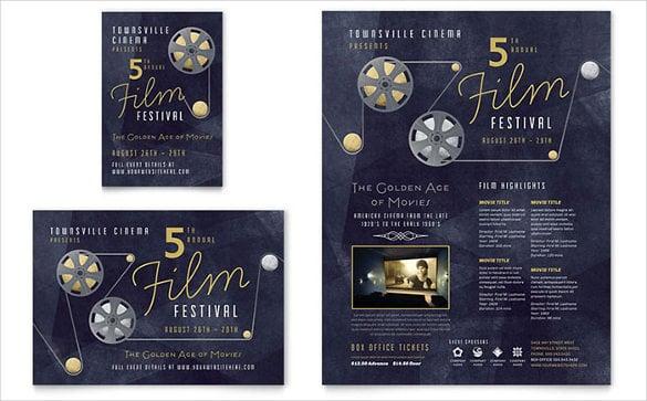 attractive film festival half page flyer template0a