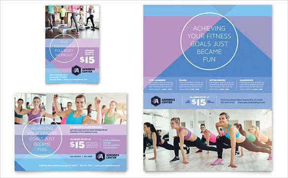 aerobics center half page flyer template