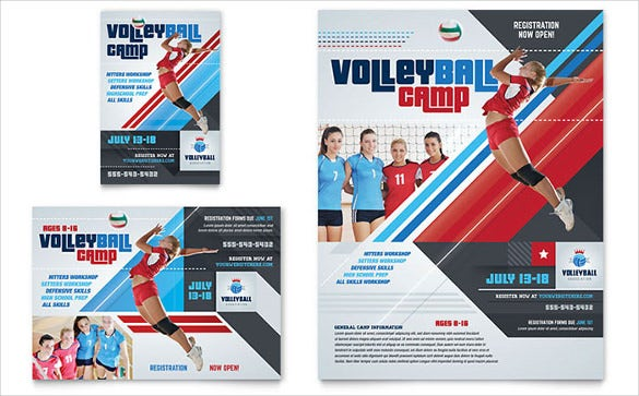 sports camp half page flyer template