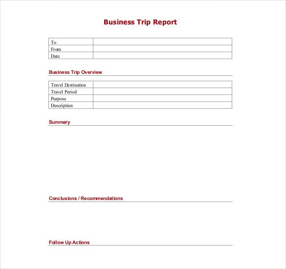 Trip Report Templates  Free Sample Example Format Download