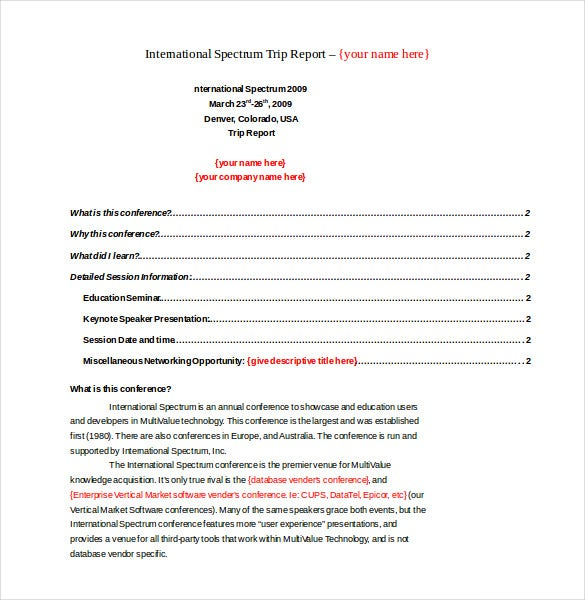 conference report templates 14  Trip Report Templates - Free Sample, Example, Format Download ...
