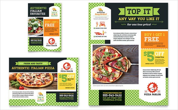 pizza store half page flyer template