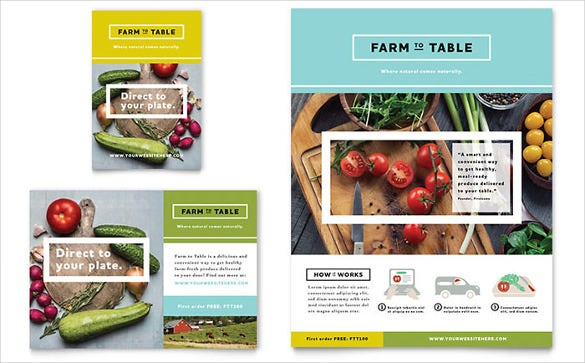 designed organic food half page flyer template