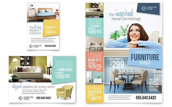 furniture promotional half page flyer template