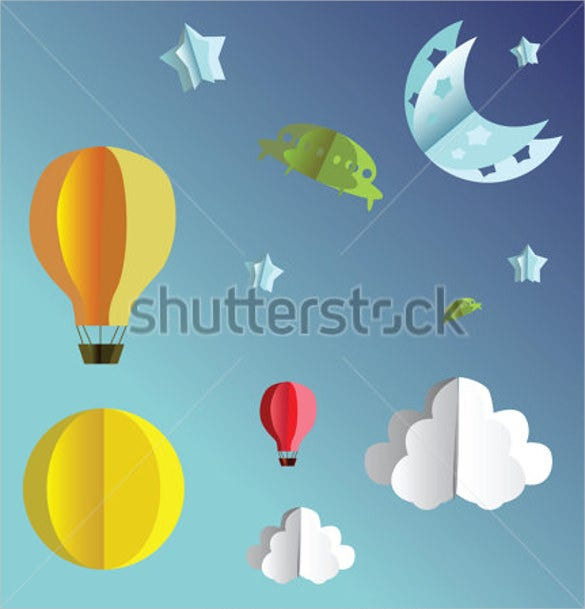 3d paper flying objects template