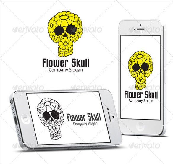 skull designed flowers logo template