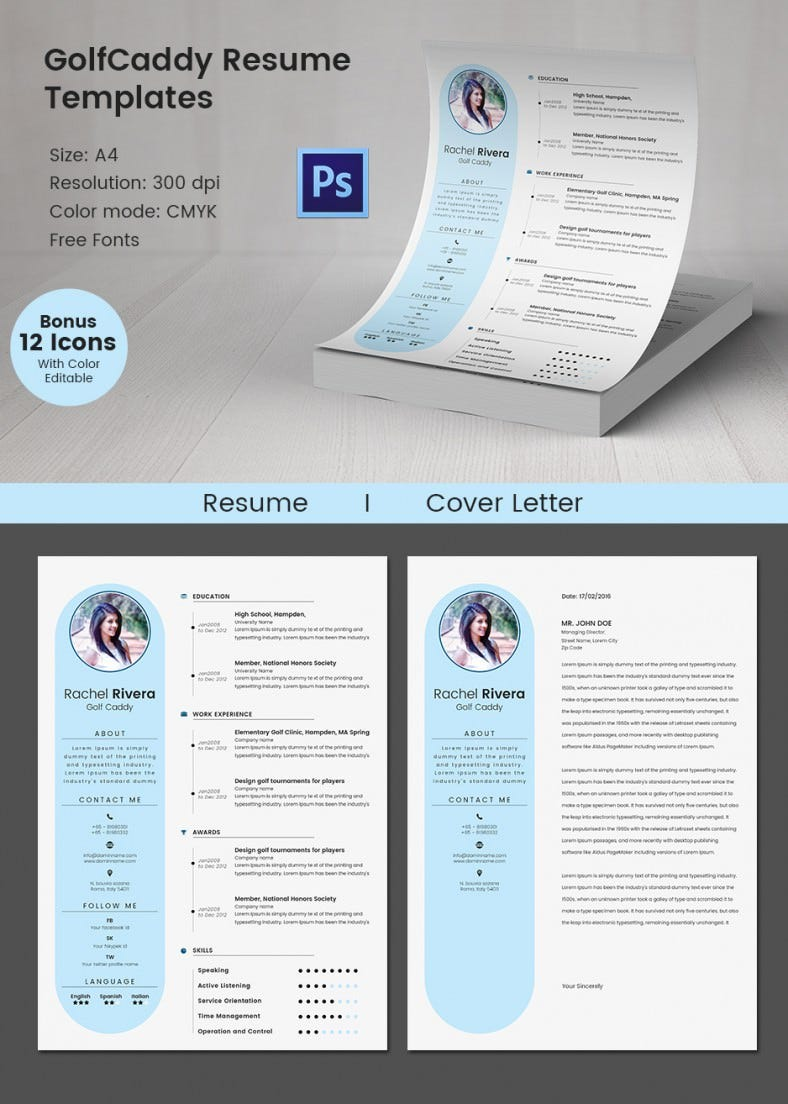 creative golf caddy resume cover letter template - Creative Resume Templates Free