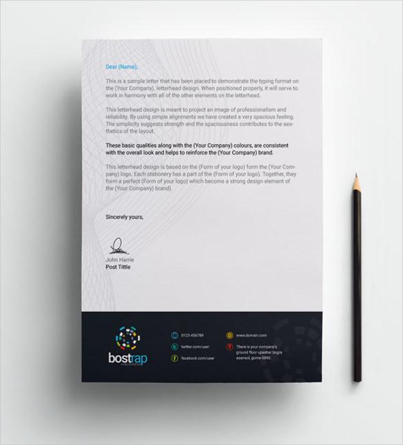 format of custom letterhead template