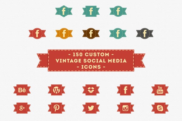 150 custom vintage facebook icons