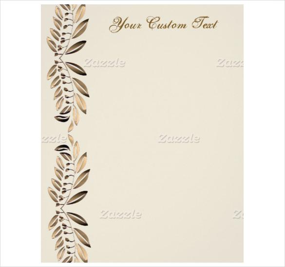 elegant gold leaves custom paper letterhead template