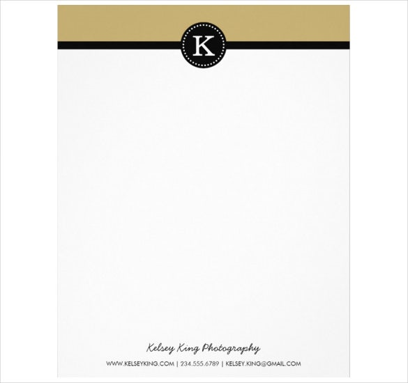 black and gold modern custom monogram letterhead download