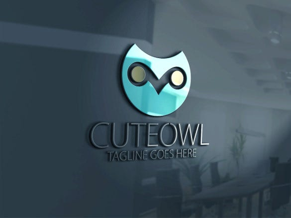 cute owl lodo template