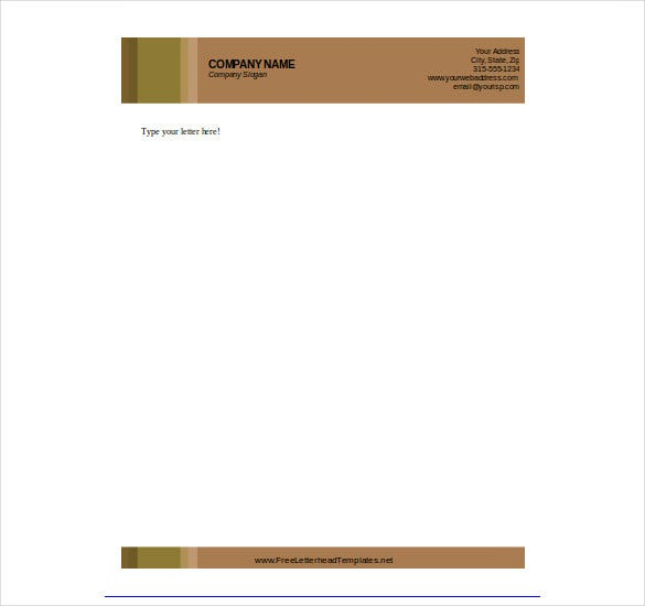 Letterhead Template In Brown Colour For Free Download  Free Word Letterhead Template