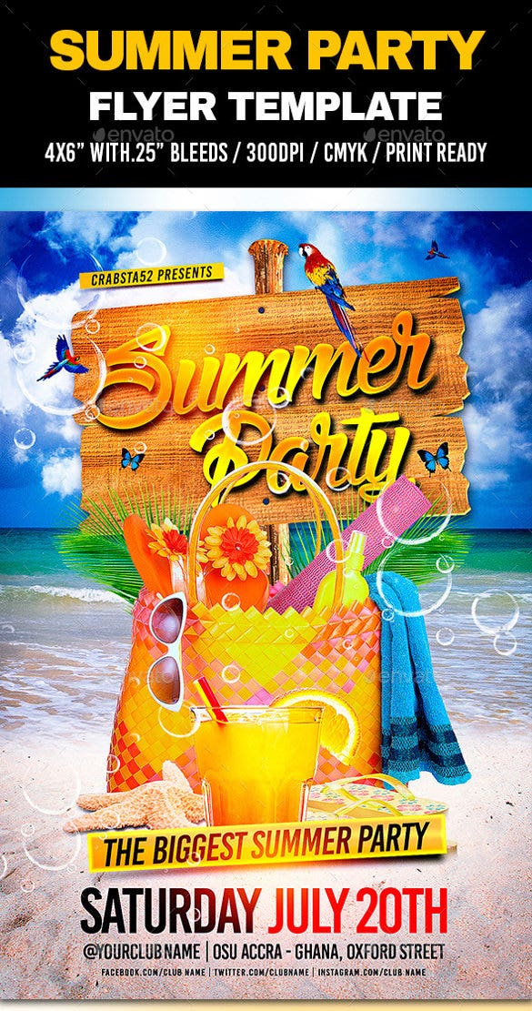 biggest summer party flyer template download