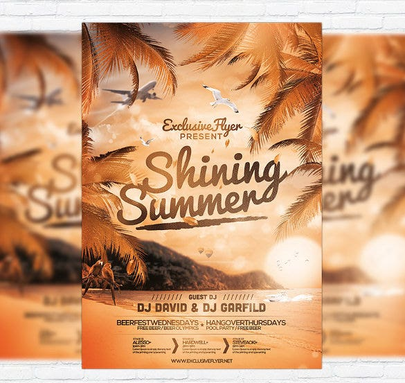 cool climate beach summer party flyer template