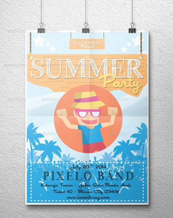 well organized summer party flyer template download