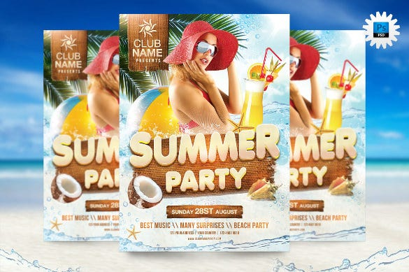 fully editable psd cool summer party flyer template