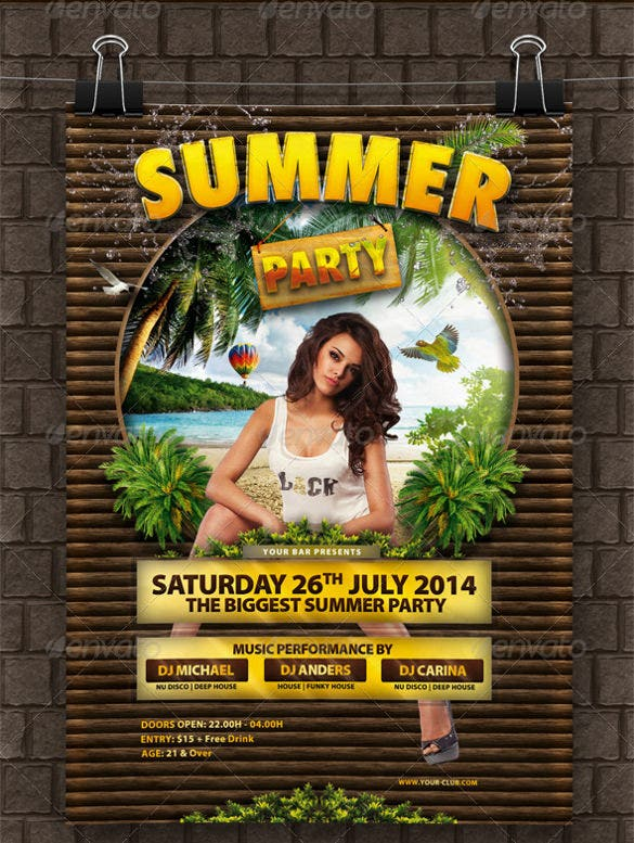 premium hot summer party flyer template download