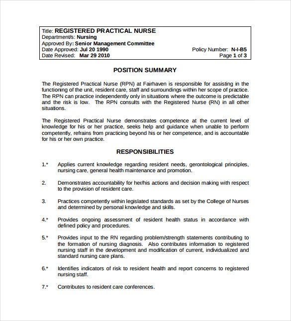 registered practical nurse example template free download