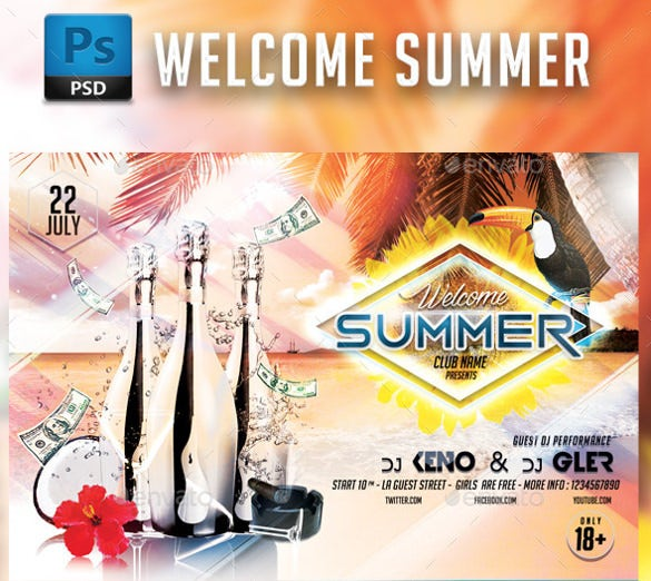 colurfull backgrounded summer party flyer template download