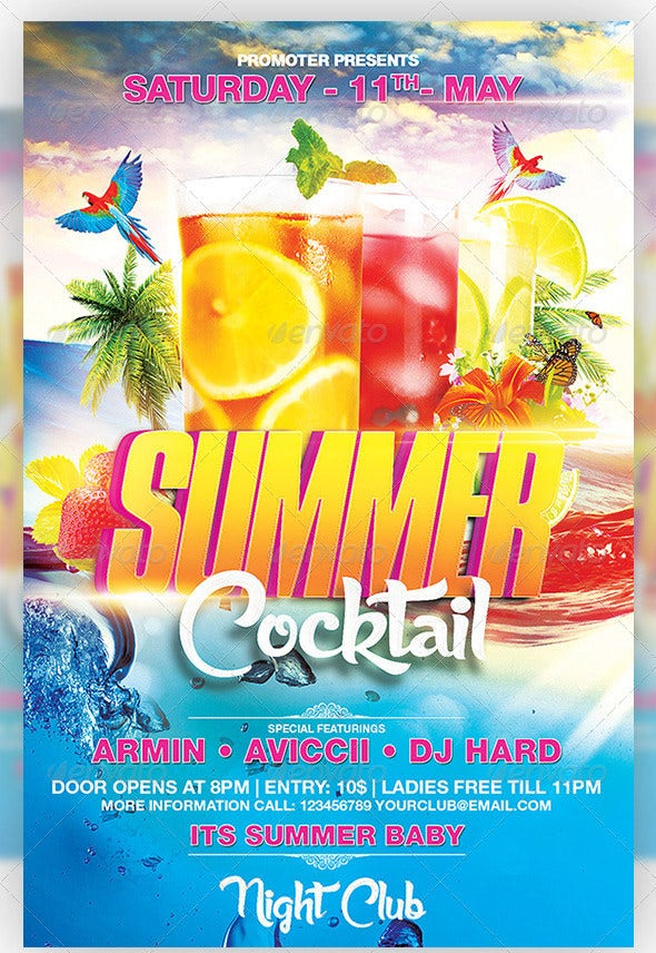 hot cocktail summer party flyer template download