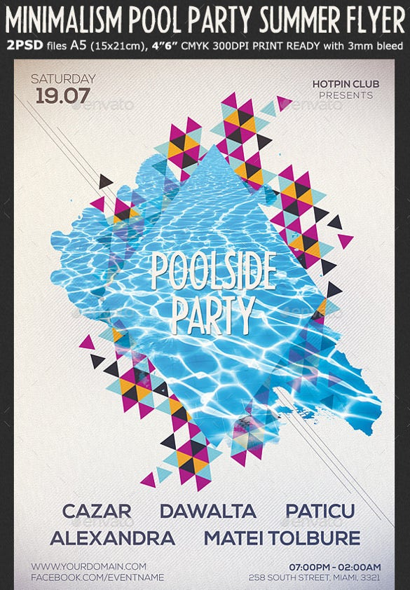 print ready summer party flyer template