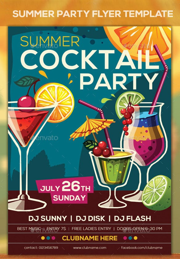 fully enjoyable cocktail summer party flyer template