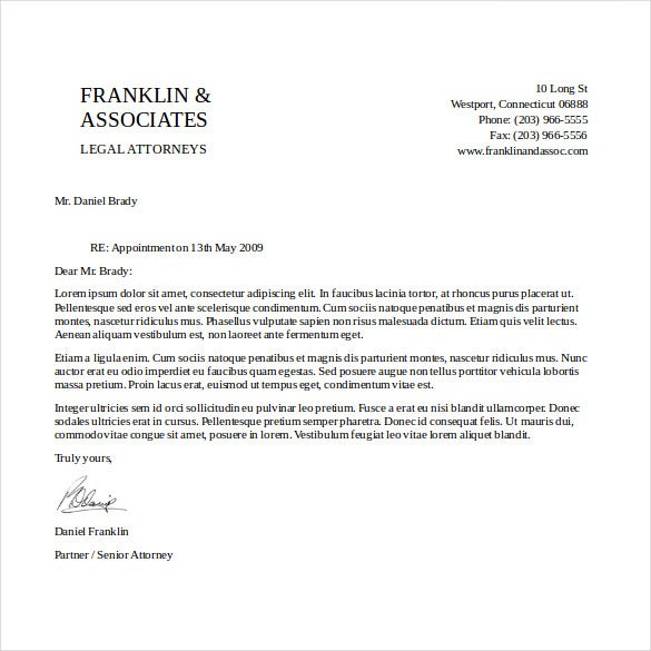 attorney letterhead template download