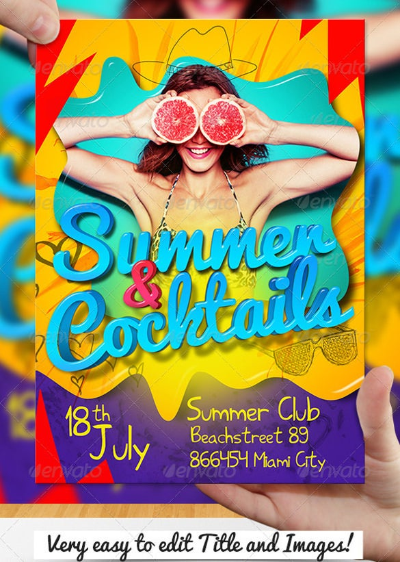 easily editable coloured summer party flyer template download