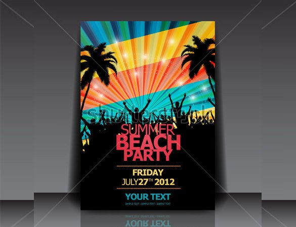 summer beach party flyer template download