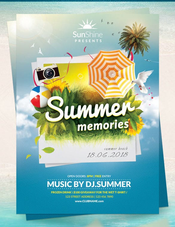 memorable events summer party flyer template download