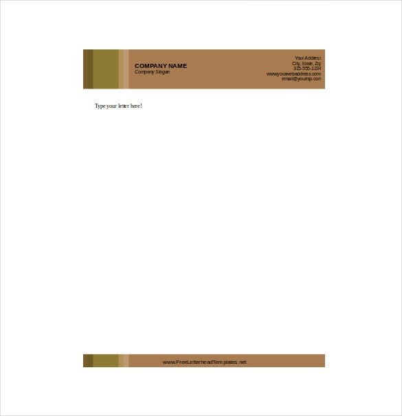 business letterhead with brown background template download
