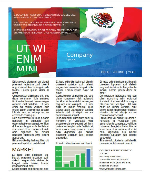 Mexican Flag Newsletter Template Free Download Word Doc  Free Download Word Template