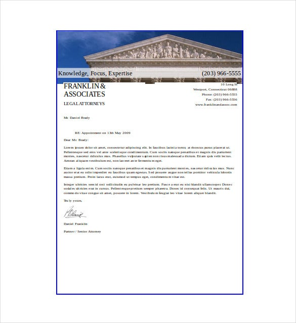 lawyer letterhead template download