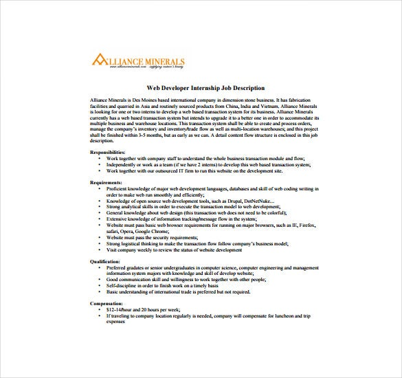 Web Developer Job Description Templates  Free Sample Example