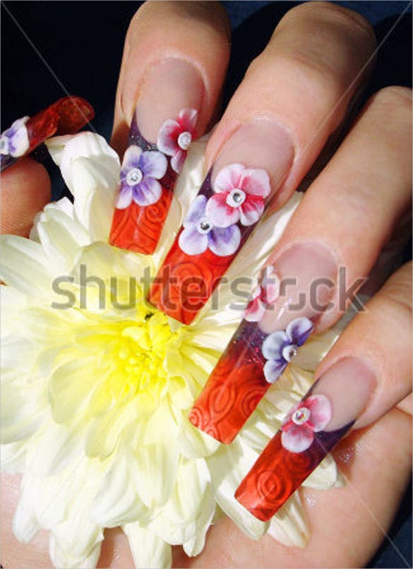 beautiful 3d flower glass nail art design templates