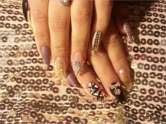 3d nail design fresstlyle bling template