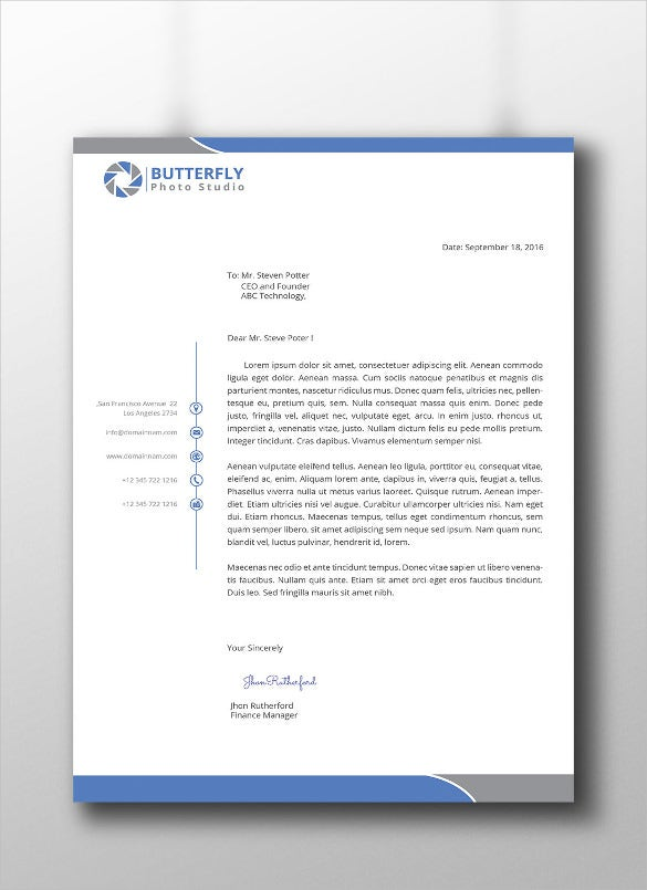 15 Professional Letterhead Templates Free Sample Example – Free Business Letterhead Template